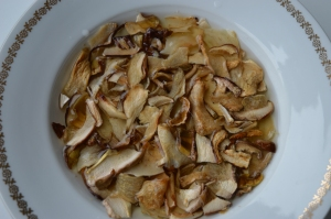 Soak the dried mushrooms in cold water