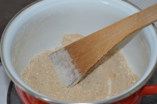 Dry-saute the flour until lightly charred