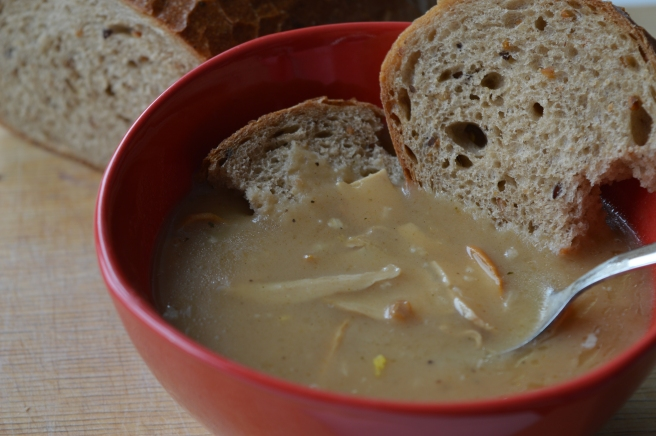 Slovak Mushroom Dip (hubová mačanka) is typically eaten with slices of fresh bread
