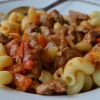 Pork Stew with Spiralled Pasta