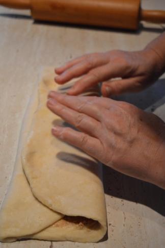 folding the dough lengthways