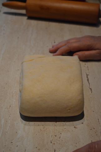 folding the dough sideways