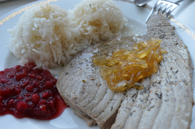 tuna steak with cranberry sauce and onion marmakade