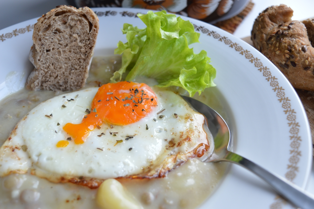 Lentil Stew with Fried Egg