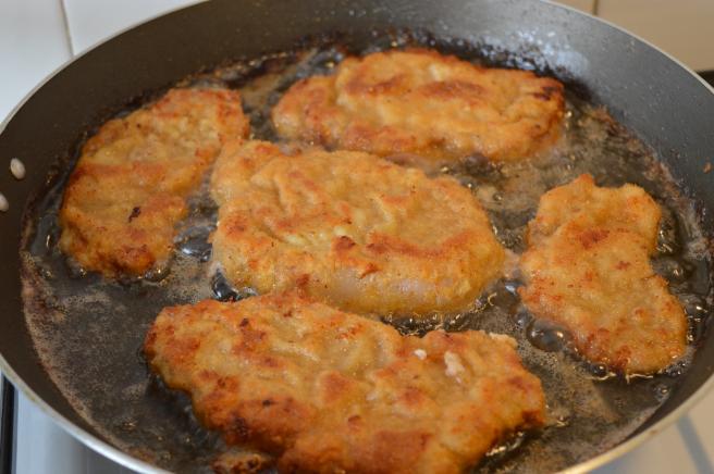 frying breaded steaks