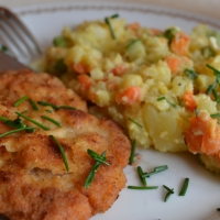 Breaded Pork Steaks with Potato Salad