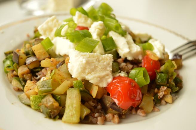 buckwheat groats with sateed vegetables