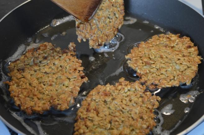 frying oatflake patties