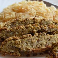 Baked Lentil Loaf on Caramelized Sauerkraut