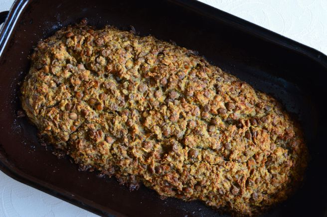 lentil loaf in the baking dish