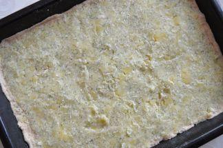 potato filling spread over the dough