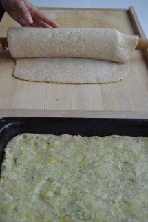 transferring the dough into baking dish 1