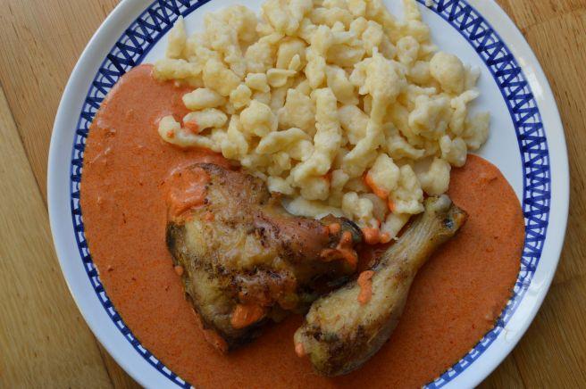 chicken paprikash with halushki
